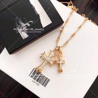 beliebte schmuckdesigner großhandel-Beliebte modemarke gold kreuz designer halskette für dame Design mann und Frauen Party Hochzeit Liebhaber geschenk Luxus Hip hop Schmuck