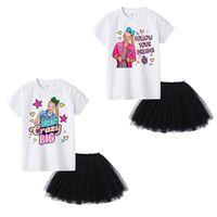 короткие белые юбки оптовых-JOJO SIWA Летние детские наряды для девочек Белая футболка с коротким рукавом топы + черные юбки-пачки 2 шт. / Компл.