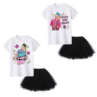 ingrosso abiti estivi di skirt nero-JOJO SIWA Estate Neonate abiti Bianco T-shirt manica corta Tops + Nero Tutu gonne 2 pz / set Boutique moda Bambini Abbigliamento Set C6780