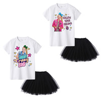Wholesale white shirt black skirt online – JOJO SIWA Summer Baby Girls outfits White Short Sleeve T shirt Tops Black Tutu skirts set Boutique fashion Kids Clothing Sets C6780