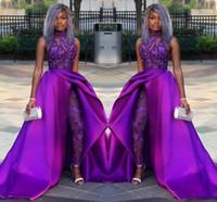 Wholesale women plus black jumpsuit for sale – dress Classic Jumpsuits Prom Dresses With Detachable Train High Neck Lace Applique Beading Luxury Evening Gowns African Party Women Pant Suits