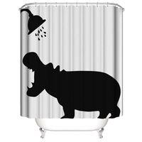moldes 3d gratis al por mayor-Ducha de la impresión 3D Cortinas gato rinoceronte digital a prueba de agua a prueba de moho bricolaje cortinas de baño personalizada 5 estilos baño envío gratuito OEM
