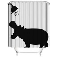 cortinas de chuveiro frete grátis venda por atacado-Poliban 3D Cat Rhinoceros Digital impressão de moldes impermeável à prova de DIY cortinas personalizadas de banho 5 estilos Banho transporte OEM gratuito