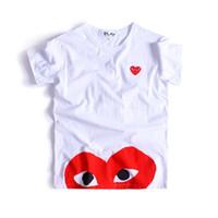 japon pamuklu giysiler toptan satış-Kadın Giysileri KOMUT OYUN Japon Kalp Emoji DES GARCONS KAPALI KAPALI Pamuk Kısa kollu Tişört Beyaz Kadınlar Yeşil Kamuflaj Kalp CDG Severler