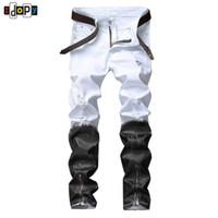 calças de brim do hip hop dos homens venda por atacado-Idopy Estilo Punk Preto E Branco Casual Mens Hip Hop Motociclista Jeans Night Club Slim Fit Impresso Com Zíperes Calças Corredores Para Homens Y190603
