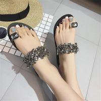 ingrosso sandali in rhinestone flip flops-Sandali infradito donna nuova moda estate strass cunei scarpe cristallo signora scarpe casual taglia 35-39 donne