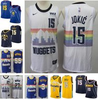 8654cd870 Hombres 15 Nikola Jokic Denver Nuggets 27 Jamal Murray Hombres Jersey   3  Allen Iverson 55 Dikembe Mutombo 15 Carmelo Anthony cosiendo camisetas