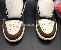 chaussures de boîte d'origine achat en gros de-2019 Travis Scott x Air Jordan 1 Haute OG CD4487-100 1s I Kicks Hommes Basketball Chaussures De Sport Baskets Haute Qualité formateurs Avec Boîte D'origine