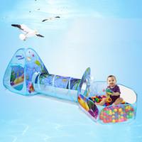 desenhos animados do oceano venda por atacado-3 pc Popup Série Oceano Brinquedos Casa Túnel Tenda Jogo Dos Desenhos Animados Bola Pits Piscina Dobrável Crianças Grande Tubo de Piscina Teepee Toy Play