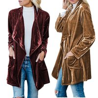 ingrosso cappotto lungo oro-Giacca a vento da donna a media lunghezza Cappotto a cardigan Cappotto di velluto a maniche lunghe in oro massiccio Maniche lunghe irregolari a doppio laccio 6