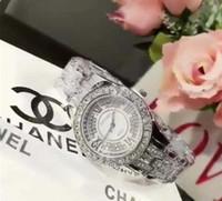 voller diamantquarz großhandel-Heiße Neuheiten Luxus H3403 H0968 Frauen sehen volle Diamant Dame Steel Chain Watches Luxus Quarzuhr Freizeit Modedesigner Uhr