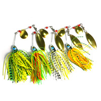 Wholesale sequin fishing lures resale online - HENGJIA spinnerbaits Rotating sequins lead head Fluff pike fishing Lures buzzbaits little fat g isca pesca fishing tackles