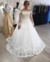 Wholesale beautiful brooches resale online - 2020 Beautiful Tulle Wedding Dresses Illusion Neckline Appliques Elegnat Bridal Gowns Custom