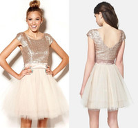 junioren champagner röcke großhandel-Plus Size Champagne Homecoming Kleider Short 2019 Rose Gold Pailletten Tüll Sweet 16 Junioren Abendkleid Party Kleider Semi Formal Tutu Rock