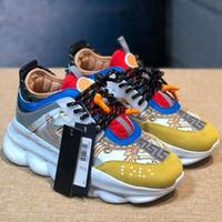sütyen zincirleri toptan satış-Versace Yeni Zincir Reaksiyon Erkek Kadın Lüks Tasarımcı Ayakkabı Benekli Siyah Çok Renkli Kauçuk Süet Moda Eğitmenler Sneakers Ayakkabı