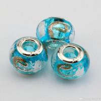 glasperlen große löcher großhandel-Heiß ! 100 Stück Himmelblau Gold Silberfolie Alphabet
