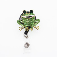 Wholesale brooches frogs for sale - Group buy 10pcs Sparkly Rhinestone Nurse Medical Doctor Symbol Frog Shape Retractable Badge Reel Holder Clip Name Badge Reel