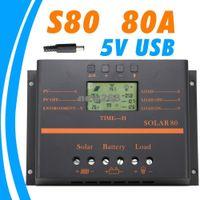 carregador usb para bateria do laptop venda por atacado-Freeshipping 80A Controlador Solar 5 V carregador USB para o telefone móvel 12 V 24 V painel PV Controlador de Carga Da Bateria sistema Solar uso interno da casa