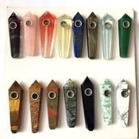stein tabak rauchen pfeifen großhandel-Natürliche Pfeife heilende Kristallsteinrohre für das Rauchen von Tabakpfeife Quarz Edelstein Pipe Tower Quarz Punkt