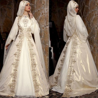 Wholesale sexy long black lace cloaks for sale - Group buy Modest Arabic Muslim Wedding Dresses With Long Sleeves High Neck Gold Embroidery Beads Luxury Bridal Ball Gown With Cloak