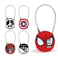 avengers mini großhandel-Avengers passwortsperre cartoon vorhängeschloss runde mini metallbeutel zip bag rucksack handtasche koffer schublade schloss mode schlüsselanhänger TTA873