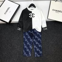 Wholesale baby jeans embroidery resale online - kids soccer tracksuit Black stitching hoodie Autumn long sleeves baby girl clothes leggings pants jeans kids clothes boys
