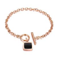 edelstahl quadratische verbindung großhandel-Koreanische einfache retro schwarz edelstahl platz kette armband schmuck rose gold titanium stahl damen armband urlaub geschenk