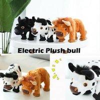 spazieren gehen großhandel-15cm elektrischer Stier gehende Kuh Plüsch spielt stumpfen Ton angefüllte Tierbullkinder Spielzeuggeschenk-Parteibevorzugung Neuheit Spiele FFA1554