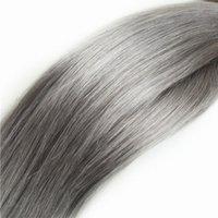 reine graue haareinschlagfaden großhandel-CER bescheinigte graue brasilianische gerade Welle des Haares 3pcs Los 100g silberne graue Haarwebart Bündel Jungfrau grauen Menschenhaareinschlagfaden