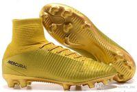 tacos de fútbol de alta calidad al por mayor-Zapatos de fútbol al por mayor para los hombres S Mercurial Superfly Fg Cr7 calcetines botas de fútbol para mujer para hombre Tops altas Ronaldo tobillo de fútbol de interior Cleats-qwd5