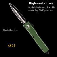 ingrosso auto alluminio-TASCA MICRO-TECH UTX-85 Coltello automatico HALO D2 MT auto coltello CNC verde alluminio manico coltelli da caccia coltelli a doppia azione auto Tattico