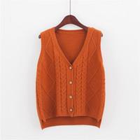 blusas botão feminino venda por atacado-Womens De Malha Cardigan Botões Para Baixo Camisola Sem Mangas Colete Solto Bonito Moda Casual Para O Outono Inverno Uvtt-1602161