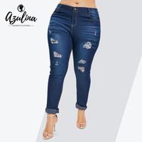 modern artı giyim toptan satış-Rosegal Artı Boyutu Yüksek Bel Ripped Kot Kadın Pantolon Yeni Moda Sıska Kalem Pantolon Kot Pantolon 2019 Bayanlar Giyim Y19042901