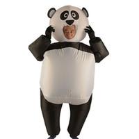 fantasia de mascote de panda cheia venda por atacado-Ternos infláveis Explodir Full Body Adult Panda Mascote Traje Inflável Traje Da Festa de Natal Macacão