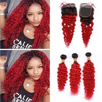 Wholesale dark red hair weave online - Dark Roots Red Ombre Virgin Brazilian Curly Hair Bundles with Lace Closure Two Tone B Red Deep Wave Human Hair Weaves with Closures