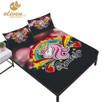 Wholesale sweet bedding set for sale - Group buy Girl Sweet Unicorn Sheet Set Kids Colorful Cartoon Rainbow Print Fitted Sheet Flat Bed Linens Twin Full Queen King Bedding