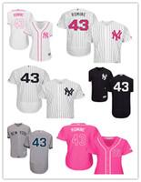 yankees jerseys majestuosos al por mayor-2019 Custom Nueva York hombres de las mujeres jóvenes Yankees 43 Austin Romine Majestic alternativo auténtico Base Flex jerseys del béisbol