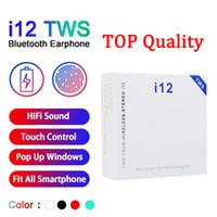 fone de ouvido de controle azul venda por atacado-Vender Hot tws I12 Bluetooth 5.0 fones de ouvido sem fio Bluetooth apoiar janela pop-up fones de ouvido controle de toque colorida fones auriculares sem fios