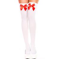 weiße oberschenkel hohe nylons großhandel-t hohe strümpfe Frauenstrümpfe Für Halloween Kostüm Mode Nylon Weiß Rosa Schwarz Rot Bogen Strumpf Knie Mädchen Sexy Oberschenkel Hohe Strümpfe