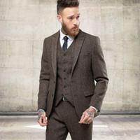 chalecos para hombres delgados al por mayor-Dos botones Tweed Wool Winter Men Trajes Formal Skinny Wedding Tuxedos Gentle Modern Blazer 3 Piece Men Trajes (chaqueta + pantalones + chaleco)
