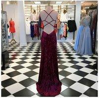 vestido de formatura venda por atacado-Mergulhando Neck Tie Back Burnout Velvet Prom Dress com Slit Long Bainha Pageant vestido de noite vestidos personalizados