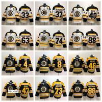 jersey de hielo negro patrice bergeron al por mayor-Boston Bruins Negro Blanco 37 Patrice Bergeron Jersey Hombre Hockey sobre hielo Chara Marchand Pastrnak McAvoy Orr Neely Rask Backes Krug DeBrusk Krejci