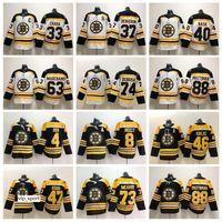 patrice bergeron black ice jersey venda por atacado-Boston Bruins Preto Branco 37 Patrice Bergeron Jersey Homem Hóquei No Gelo Chara Marchand Pastrnak McAvoy Orr Neely Rask Backes Krug DeBrusk Krejci