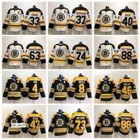 patrice bergeron siyah buz forması toptan satış-Boston Bruins Siyah Beyaz 37 Patrice Bergeron Forma Erkek Buz Hokeyi Chara Marchand Pastrnak McAvoy Orr Ne Rask Desteği Krug DeBrusk Krejci