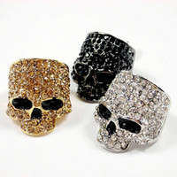 anel de cristais pretos venda por atacado-Marca Crânio Anéis Para Homens Punk Rock Unisex Cristal Preto / Cor do Ouro Anel de Motociclista Masculino Moda Crânio de Jóias Por Atacado