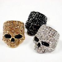 sallanan yüzük toptan satış-Marka Kafatası Yüzükler Erkekler Için Kaya Punk Unisex Kristal Siyah / Altın Renk Biker Yüzük Erkek Moda Kafatası Takı Toptan