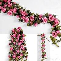 ingrosso decorazione di falsi vitigni-Alta Quality210cm Falso Grande Rose di Seta Edera Vite Fiori Artificiali Con Foglie Home Wedding Party Hanging Decorazione Ghirlanda Decor Rose Vine
