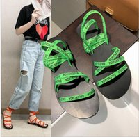 Wholesale new foot slippers for sale - Group buy 2019 Summer New European Net Red Sandals Letter Roman Flat Slippers Foot Ring Straps Cross Open Tote Women Flat Shoe