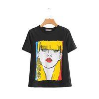 senhoras negras cuecas calções venda por atacado-TX859 Europeu Ocasional Preto Cor Amarela Lady Impressão T Shirt Das Mulheres de Manga Curta Verão Breve T-shirt Tee busto 84-92 cm