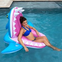 Wholesale hot pink beds online - Outdoor Inflatable Floats Shark Shape PVC Pink Green Blue Aquatic Sports Floating Bed Overwater Adult Mount Hot Sale csD1